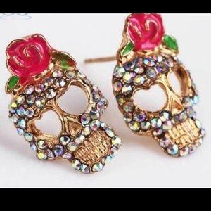 Jewelry - NEW Sugar Skull Rhinestone Earrings